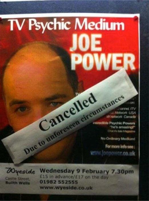 Ironía, cancelan show de psíquico por circunstancias imprevistas