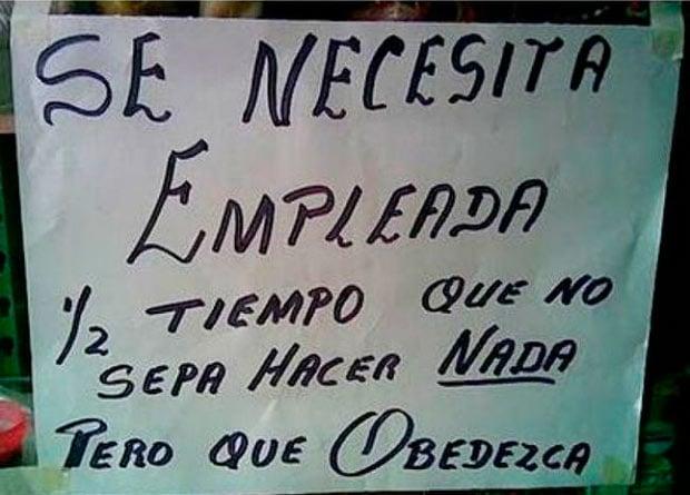 Ironía, letrero que dice que se necesita empleada que no sepa hacer nada