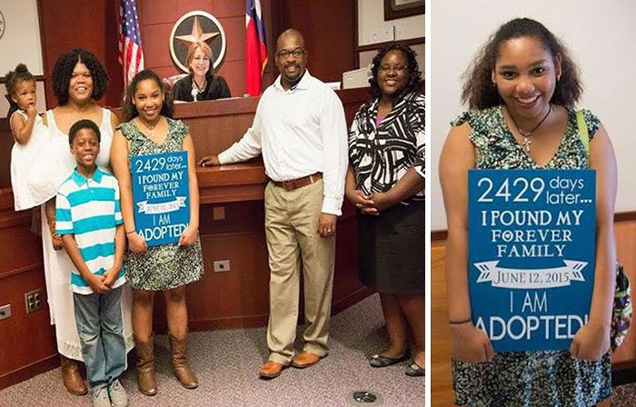 Foto de familia que adoptó a una niña después de 6 años de estar en adopción