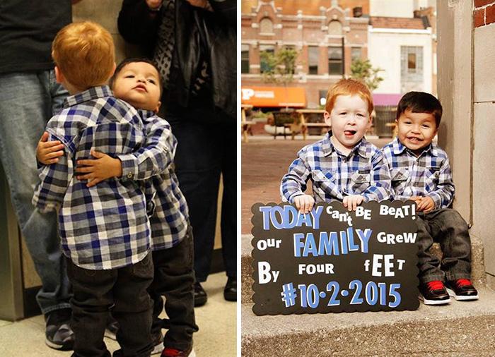 Niños abrazados; fueron adoptados