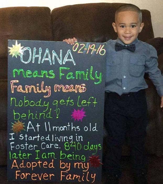 ohana significa familia, niño adoptado