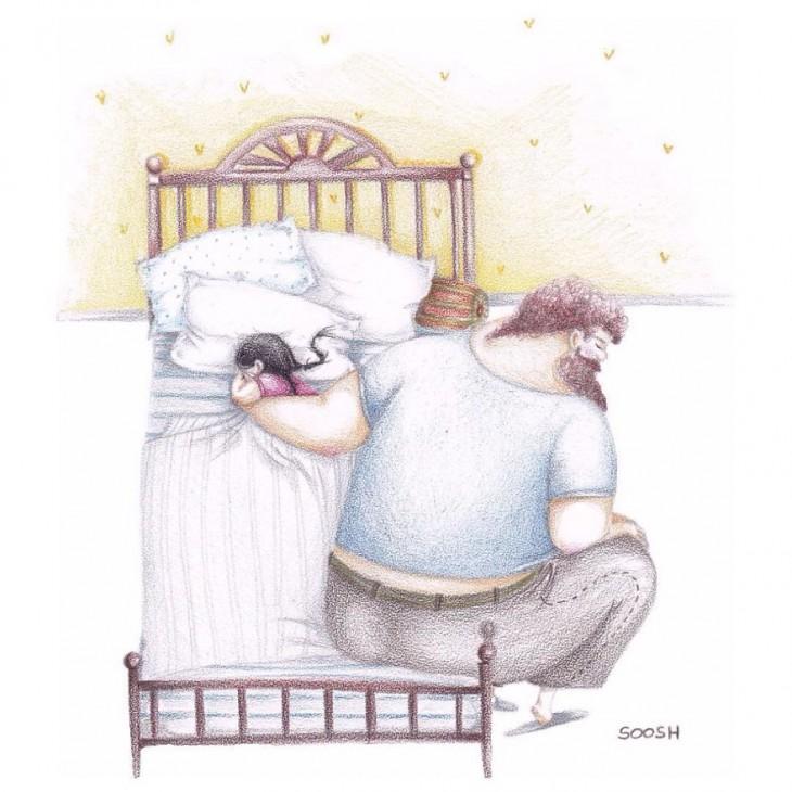 dibujo en acuarela soosh hija abrazada del brazo de su papá mientras se duerme