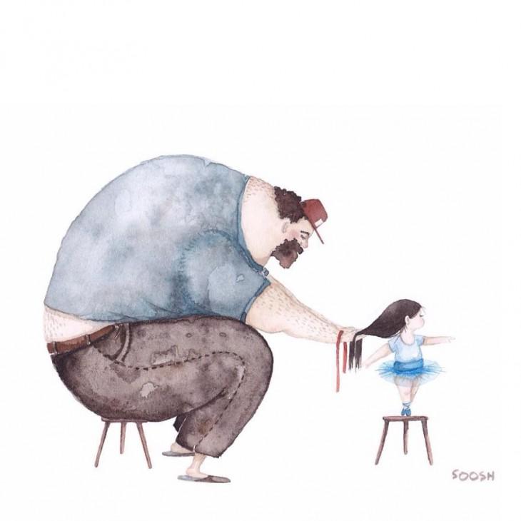 dibujo en acuarela soosh padre peinando a su hija para su clase de ballet
