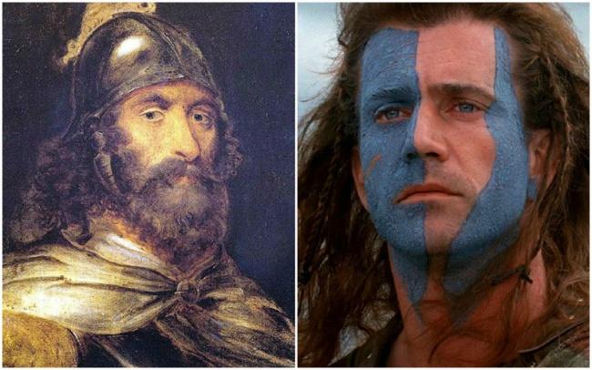 Personajes Históricos En La Vida Real. William Wallace Interpretado por Mel Gibson en la película Corazón valiente