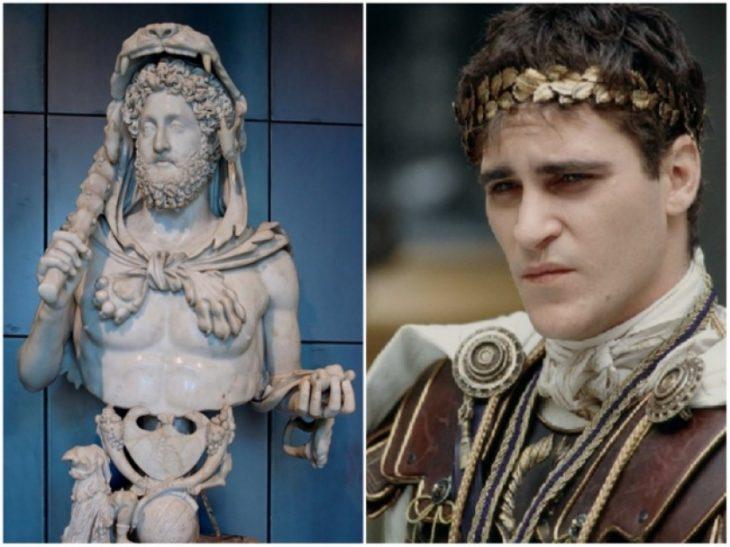 Personajes Históricos En La Vida Real. El emperador Cómodo interpretado por Joaquín Phoenix en la película El Gladiador