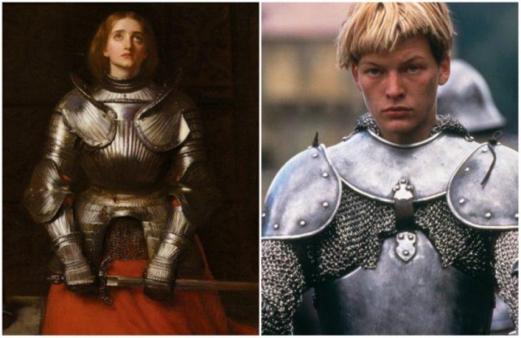Personajes Históricos En La Vida Real. Juana de Arco interpretada por Milla Jovovich en la película Juana de Arco