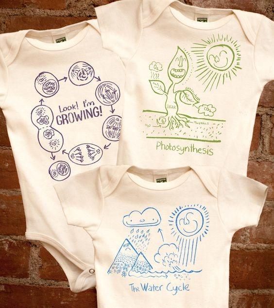 tres mamelucos para bebés que explican la fotosíntesis, el ciclo del agua y el crecimiento