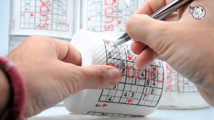 papel de baño con sudoku