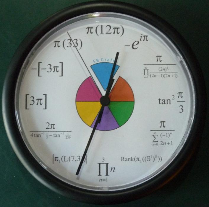 reloj de pared con los nombres de los elementos quiímicos