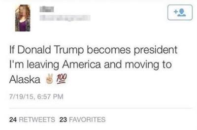 estado de internet donde una chica dice que si Donald Trump gana la presidencia se irá de América, a Alaska