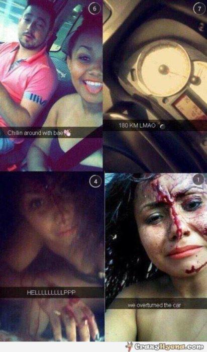 4 fotos en snapchat donde una chica sube una foto paseando, otra donde se ve que van a 180 km/hr y dos más de ella con la cara ensangrentada diciendo que se volcaron