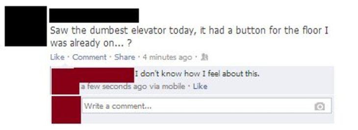 """estado de internet donde una chica asegura que vio el """"elevador más tonto"""""""