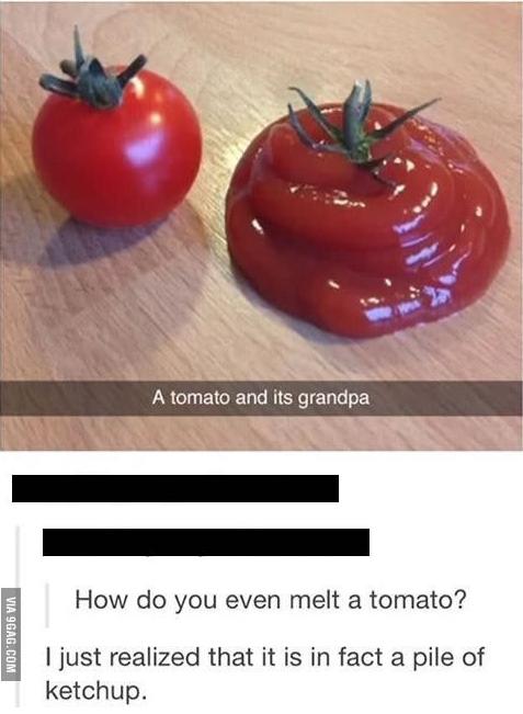 estado de nternet donde suben una foto de un tomate y un montón de salsa catsup