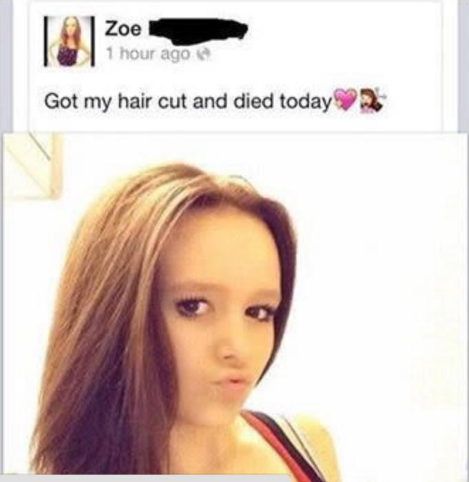 estado de internet, chica se cortó el cabello y se murió
