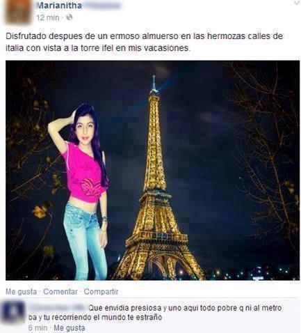 estado de internet en donde una chica puso con Photoshop una foto suya en la Torre Eiffel en París