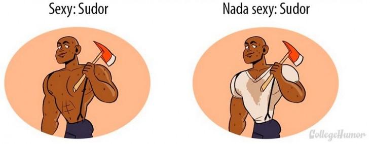 sexy, un hombre musculoso sin camisa sudando; nada sexy, un hombre con la camisa manchada de sudor