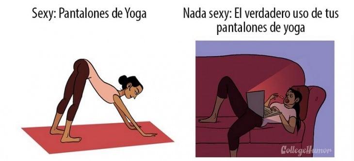 sexy, mujer con pantalones de yoga haciendo ejercicio; nada sexy, mujer con pantalones de yoga de flojera