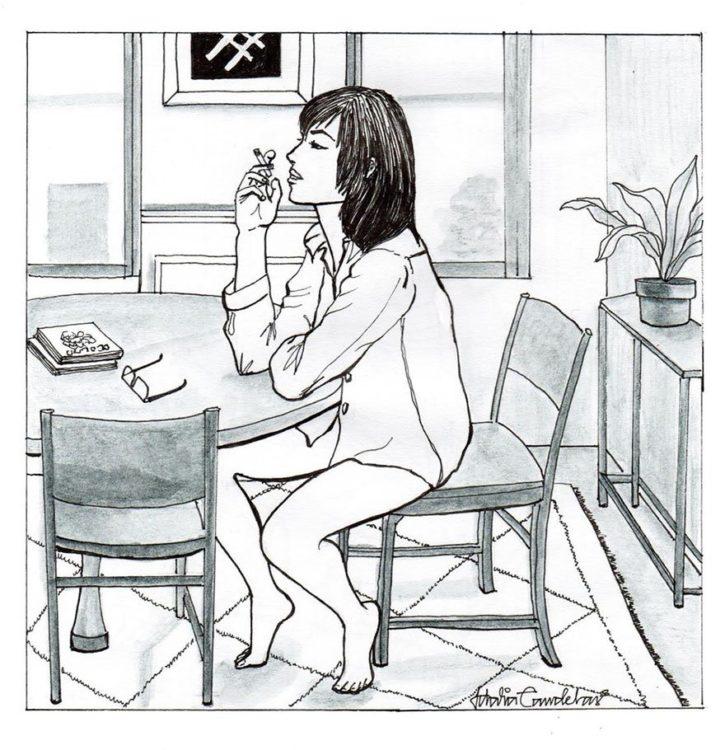 Ilustración de Idalia Candelas de una mujer relajada fumando en su cocina