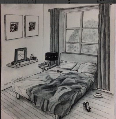 Ilustración de Idalia Candelas de una cama destendida
