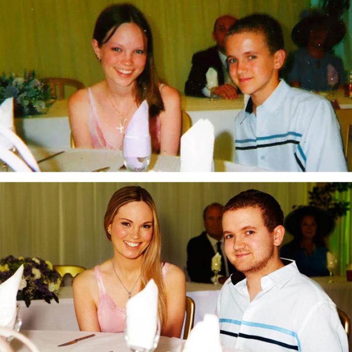 Recrean foto de cuando tenían 13 años y ahora