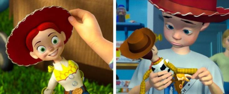 sombrero de Jessie y sombrero de Andy en las películas de Toy Story