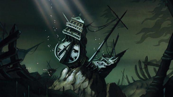 barco sumergido en una escena de la película de La Sirenita