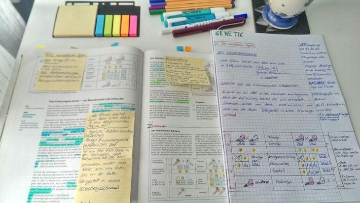 Apuntes organizados e inspiradores. Apuntes muy bien cuidados en un escritorio donde se ven post its y plumones de distintos colores