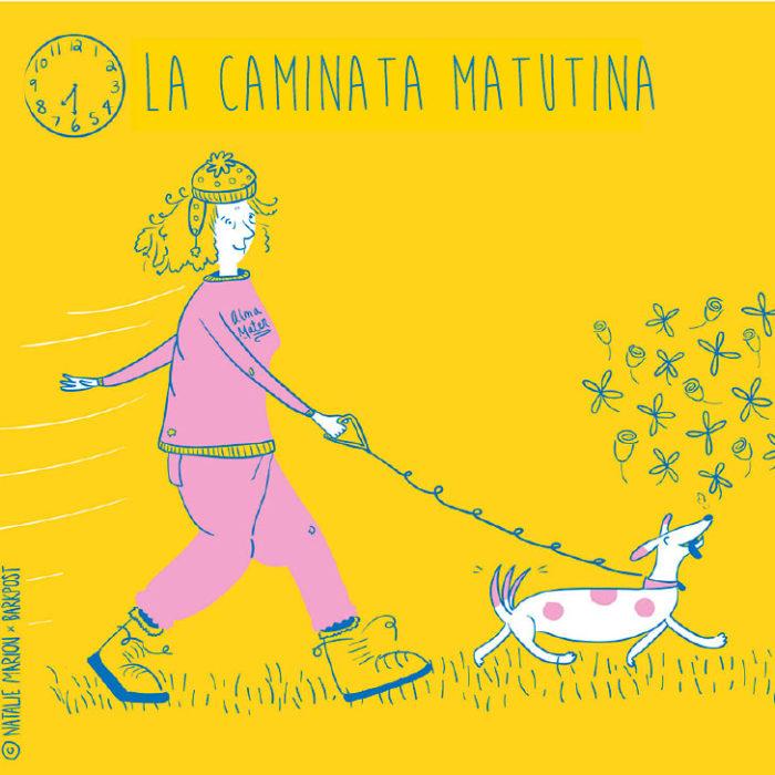 Ilustración Natalie Marion. Mamá humana saca a pasear a su perro
