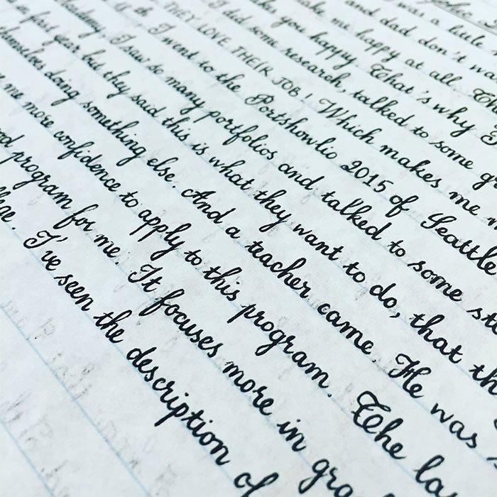 caligrafía con apuntes perfectos