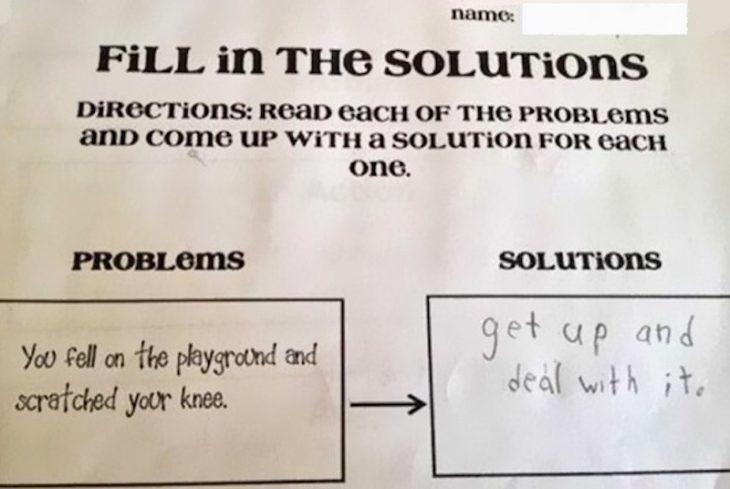 respuesta graciosa a un examen de problemas y soluciones