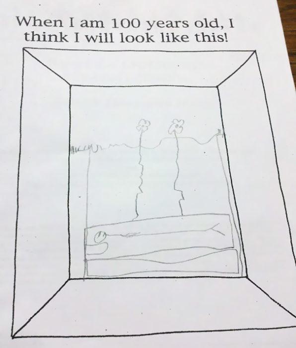fotografía a la respuesta de un examen con un dibujo