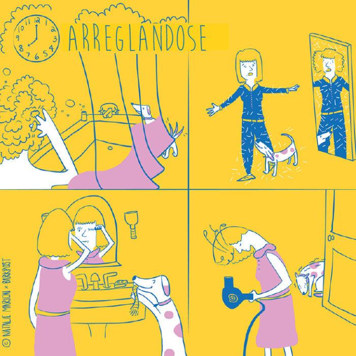 Ilustración Natalie Marion. Arreglarse la mamá humana mientras su perro está con ella