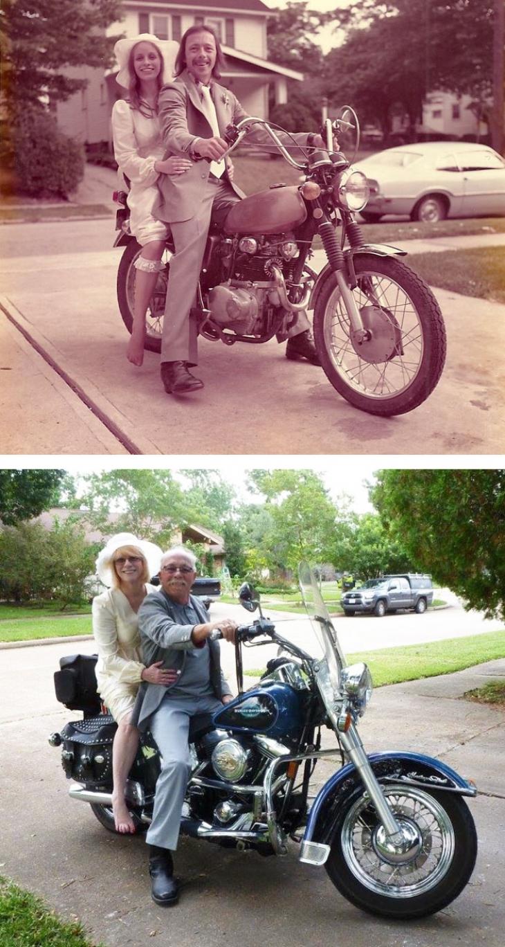 ANTES. Recién casados en una moto. AHORA. 40 años después matrimonio en una moto