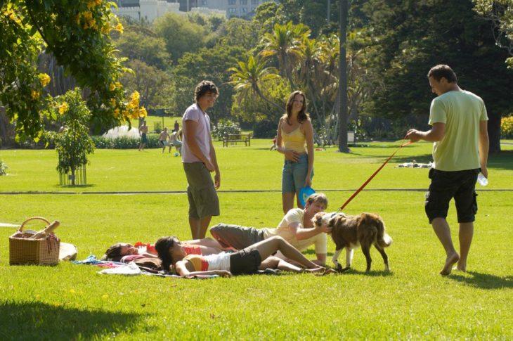 Jóvenes en el parque con un perro
