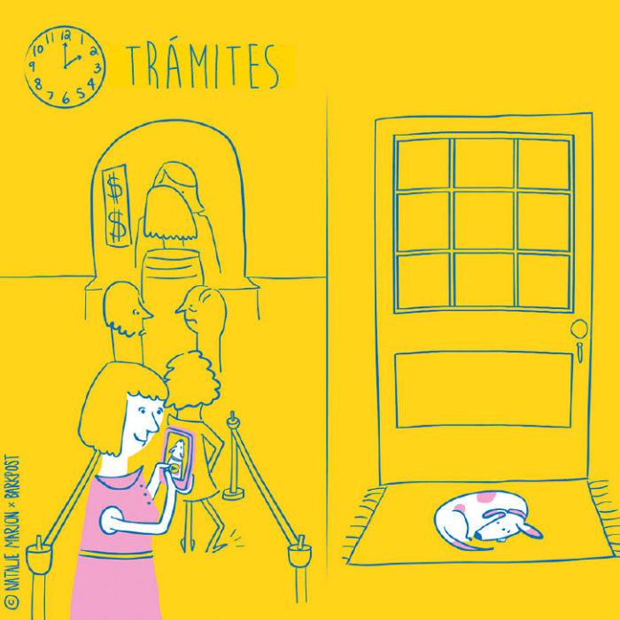 Ilustración Natalie Marion. Mientras su mamá humana está en la calle haciendo trámites, su perro la espera en la puerta