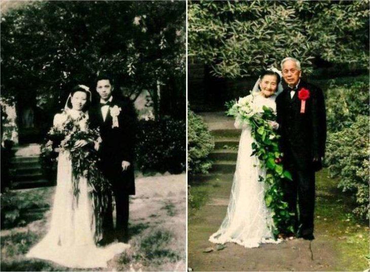 Recrean foto de su matrimonio 70 años despue´s
