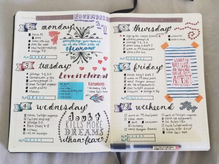 Apuntes organizados e inspiradores. Agenda hecha a mano con tipografía de distintas formas y dibujos y banners