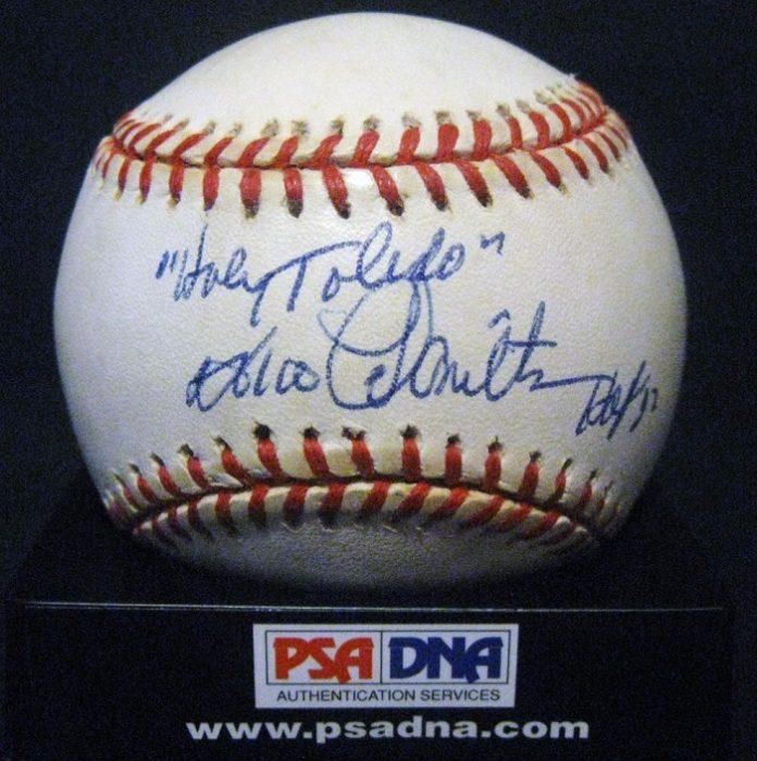 Pelota de baseball autografiada por Peewee Reese y Jake Mooty