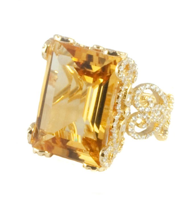 Anillo con diamante Citrine