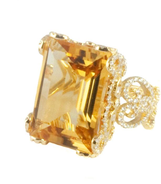 Anillo con diamante Citrine