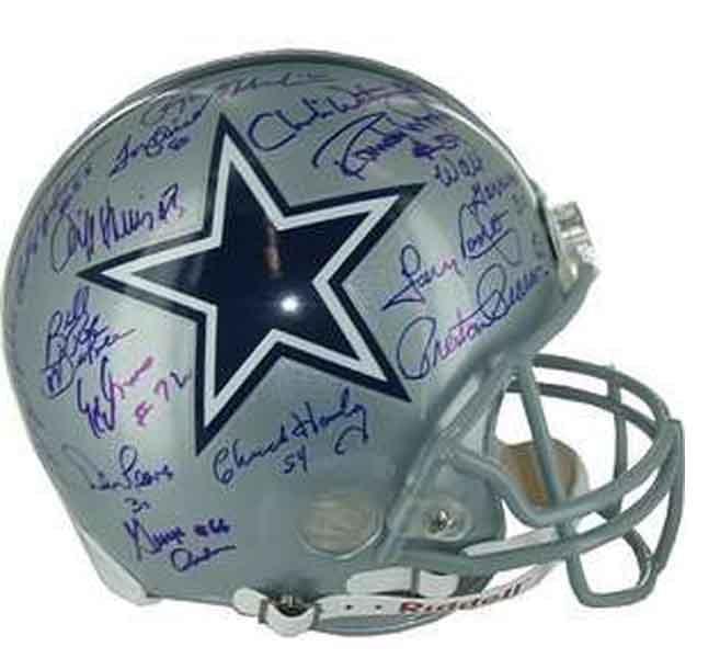 casco de super bowl con 41 firmas del equipo