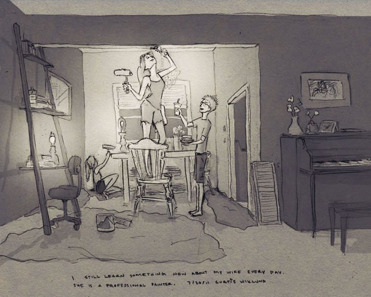 dibujo de una familia pintando el interior de su hogar