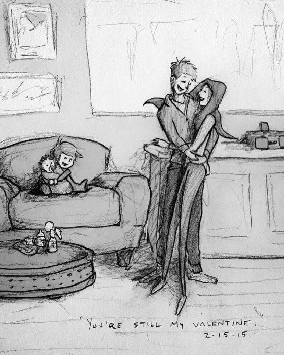 dibujo de una familia feliz en la sala de la casa
