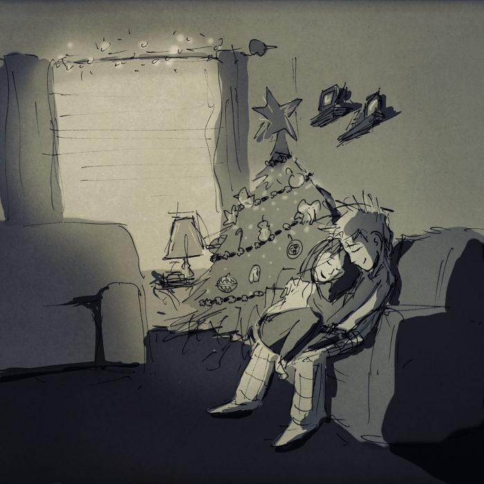 ilustración de una pareja sentada en un sillón junto al árbol de navidad