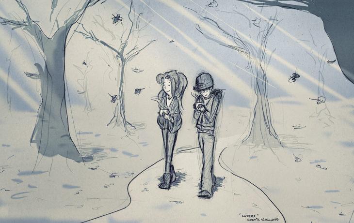 dibujo de una pareja caminando en un paisaje nevado