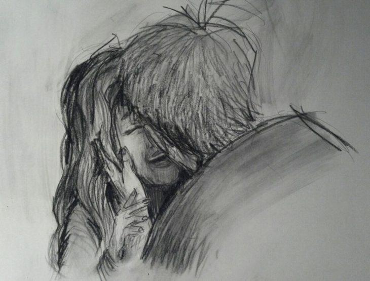 dibujo de un chico besando a su esposa