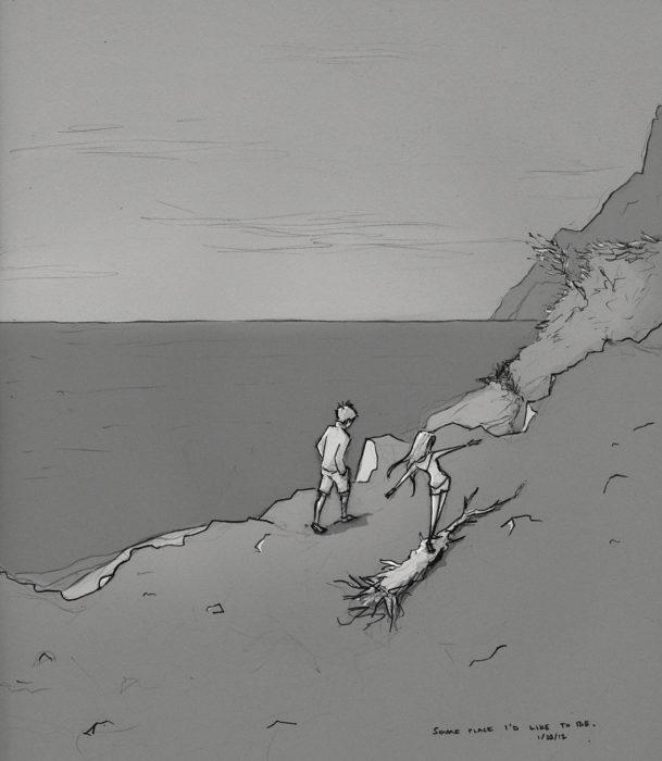 dibujo de una pareja caminando a la orilla del mar