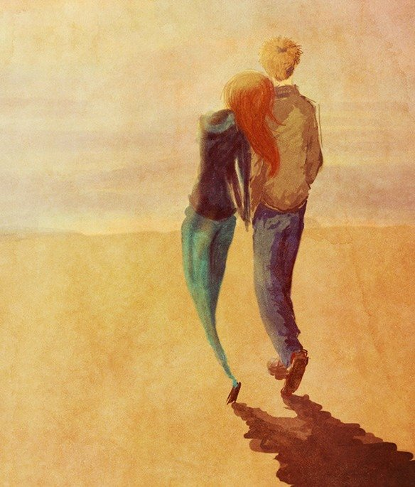 ilustración de una pareja agarrada de la mano caminando