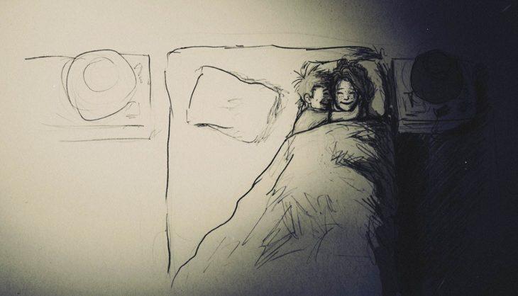 dibujo de una pareja durmiendo juntos