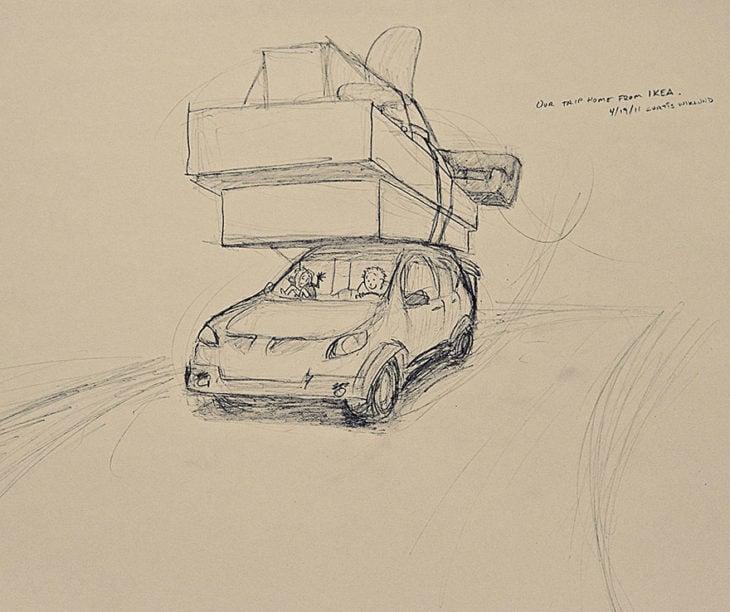 dibujo de una pareja mudándose de casa